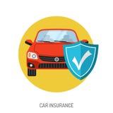 Icono plano del seguro de coche Fotografía de archivo libre de regalías