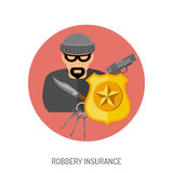 Icono plano del seguro de robo Fotografía de archivo libre de regalías