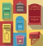 Icono plano del vector de la caja de los posts del vintage stock de ilustración