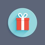 Icono plano del vector de la caja de regalo del estilo Imagenes de archivo