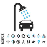 Icono plano del vector de la ducha del coche con prima Fotografía de archivo libre de regalías