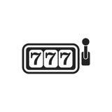 Icono plano del vector de la máquina tragaperras del casino ejemplo p del bote 777 Imagenes de archivo