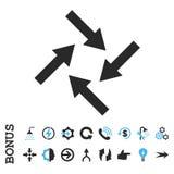 Icono plano del vector de las flechas centrípetas con prima Fotografía de archivo