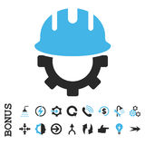 Icono plano del vector del casco de protección del desarrollo con prima Fotos de archivo libres de regalías