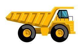 Icono plano del vector del diseño del camión volquete de la explotación minera Imagen de archivo