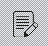 Icono plano del vector del documento en fondo transparente fotos de archivo