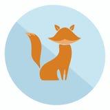 Icono plano del zorro stock de ilustración