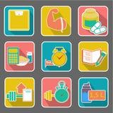 Icono plano: dieta y aptitud Imágenes de archivo libres de regalías