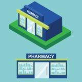 Icono plano e isométrico de la farmacia Elemento infographic de la ciudad, edificio de la droguería libre illustration