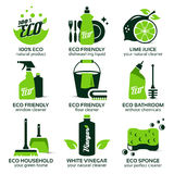 Icono plano fijado para la limpieza verde del eco Fotos de archivo libres de regalías