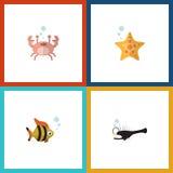 Icono plano Marine Set Of Fish, mariscos, cáncer y otros objetos del vector También incluye la estrella, langosta, elementos del  Imagenes de archivo