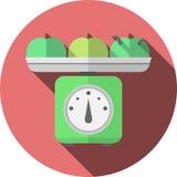Icono plano para las escalas de la cocina con las manzanas Imagen de archivo