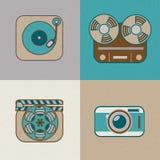 Icono plano retro de los artes Fotos de archivo libres de regalías