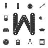 Icono plegable del metro Ejemplo simple del elemento Diseño plegable del símbolo del metro del sistema de medición de la colecció stock de ilustración