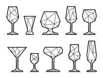 Icono poligonal de la copa de vino Rebecca 36 Fotos de archivo libres de regalías