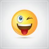 Icono positivo sonriente amarillo de la lengua de la demostración de la emoción de la gente de la cara de la historieta stock de ilustración