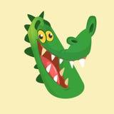 Icono principal sonriente del cocodrilo de la historieta Ejemplo simplificado color brillante plano del vector Fotos de archivo libres de regalías