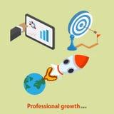 Icono profesional plano del crecimiento Concepto de lanzamiento ilustración del vector