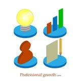 Icono profesional plano del crecimiento Concepto de lanzamiento Developm del proyecto Foto de archivo libre de regalías