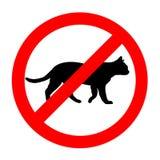 Icono prohibido divertido de los gatos de la señal de tráfico aislado Imágenes de archivo libres de regalías