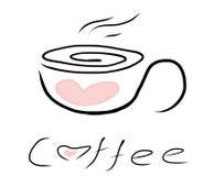 Icono a pulso del café del garabato stock de ilustración
