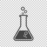 Icono químico del pictograma del tubo de ensayo Isolat químico del equipo de laboratorio Imagenes de archivo