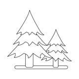 Icono que acampa del bosque del árbol de pino del esquema dos ilustración del vector