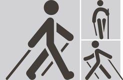 Icono que camina nórdico ilustración del vector