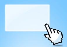 Icono que hace clic en fondo azul. Fotos de archivo libres de regalías