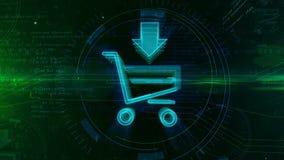 Icono que hace compras de Internet con el carro stock de ilustración