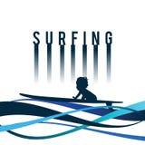 Icono que practica surf del niño en el ejemplo de color azul Fotos de archivo libres de regalías