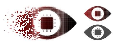 Icono quebrado de Dot Halftone Bionic Eye Circuit libre illustration