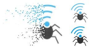 Icono quebrado de Dot Halftone Radio Spy Bug stock de ilustración