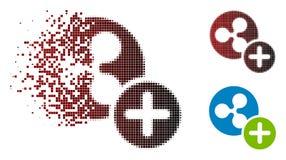 Icono quebrado de Dot Halftone Ripple Coin Add Ilustración del Vector