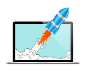 Icono realista del vector de Rocket y del ordenador portátil Concepto de lanzamiento del desarrollo cómico o de proyecto Fotos de archivo libres de regalías