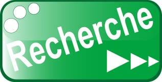 Icono RECHERCHE del Web del botón verde Imágenes de archivo libres de regalías