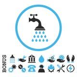 Icono redondeado plano del Glyph del golpecito de la ducha con prima stock de ilustración