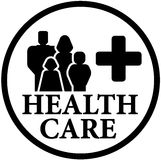Icono redondo de la atención sanitaria con la familia Foto de archivo