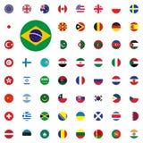 Icono redondo de la bandera del Brasil Iconos redondos del ejemplo del vector de las banderas del mundo fijados libre illustration