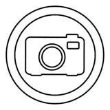 icono redondo de la cámara digital del símbolo Foto de archivo
