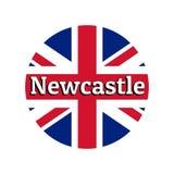 Icono redondo del botón de la bandera nacional de Reino Unido de Gran Bretaña Union Jack en el fondo blanco con las letras stock de ilustración