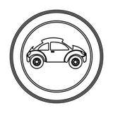 icono redondo del coche deportivo del lado del emblema Fotografía de archivo libre de regalías