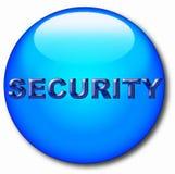 Icono redondo del ordenador con la palabra de la seguridad stock de ilustración
