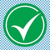Icono redondo plano del verde de la marca de verificación, botón Símbolo de la señal aislado en fondo transparente ilustración del vector