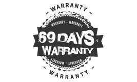 icono retro clásico del diseño de la garantía de 69 días libre illustration
