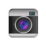 Icono retro de la cámara en el fondo blanco