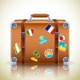 Icono retro de la maleta stock de ilustración