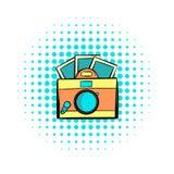 Icono retro de los tebeos de la cámara stock de ilustración