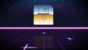 icono retro del diseño del synthwave del disquete libre illustration