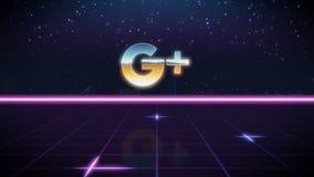 icono retro del diseño del synthwave del más de Google ilustración del vector